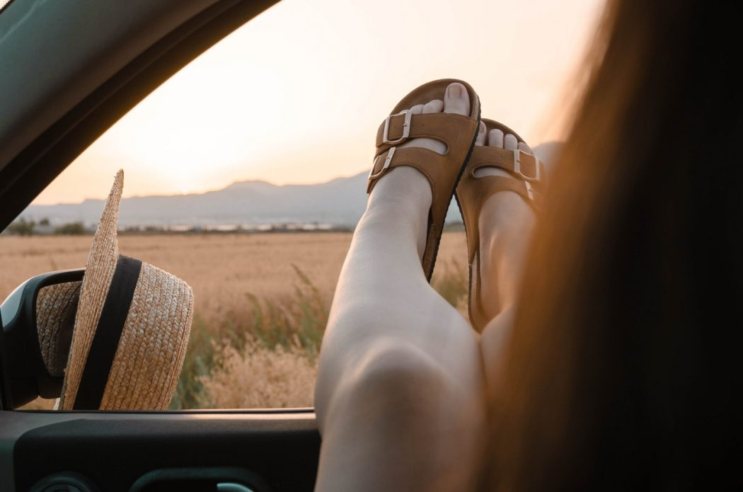 feet out window with comfortable footwear